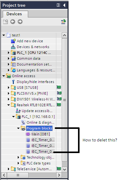 how to delete program block form online access s7 1200 ? by plcqa com